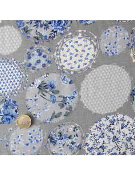 Viscose  fleurs  bleues sur le fond gris