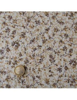 Coton petites fleurs choco