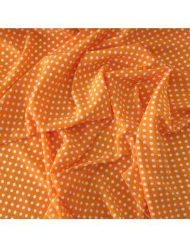 Crepe orange pois blanc