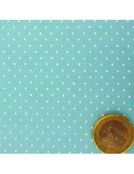 coton pois tete épingle bleu clair