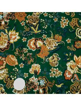 Voile polyester fleur d'antan vert