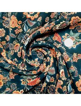 Voile polyester fleur d'antan orange