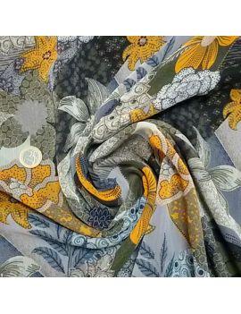 Voile polyester fleur kaki moutarde