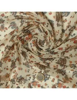 Voile polyester fleurs et cachemire