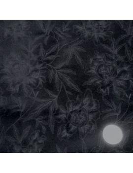Velours imprimé japonaise bleu nuit
