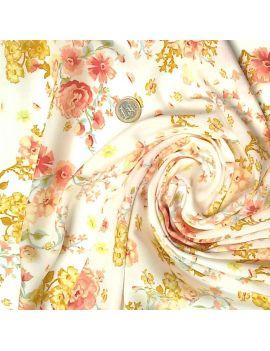 Viscose fleurs aquarelles japonisante