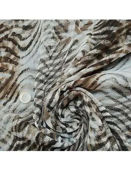 Voile polyester zèbre marron