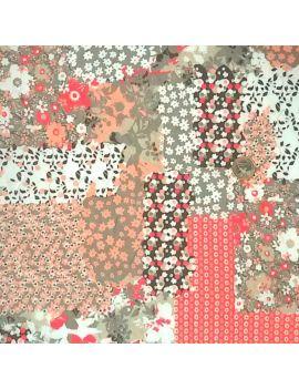 Tissu froissé patchwork corail