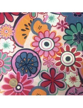 Coton liberty fleurs et fruits