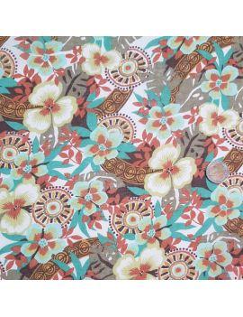 voile de coton fleur mixte ocre/emeraude