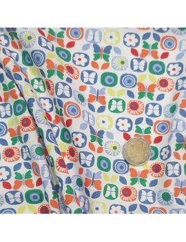 coton papillon fleur soleil vert bleu