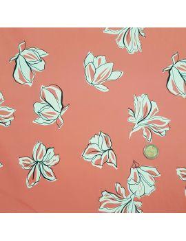 Gabardine coton elastane corail fleur