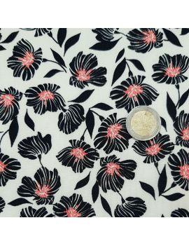 Jersey polyester fleur corail
