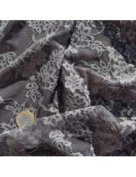 Dentelle fleur gris foncé