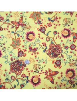 Fleur et papillon jaune voile de coton