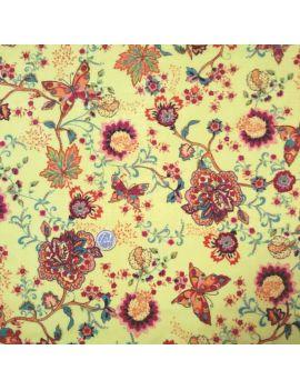 Voile de coton Fleur et papillon jaune voile de coton