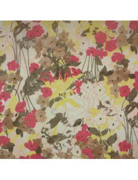 Voile de coton Fleur aqua double impression