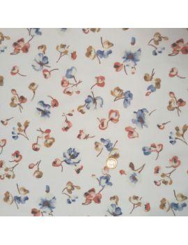 Voile de coton fleur fond blanc