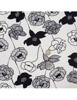 Jersey viscose fleur noir/blanc
