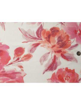 Voile de coton oversize fleurs roses