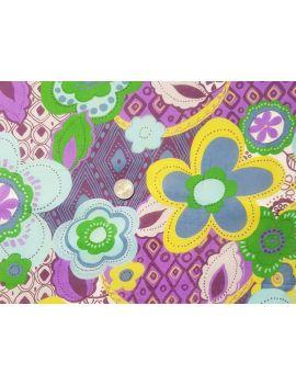 fleurs violet jaune voile de coton