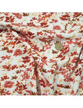 rouge orangé fleuri voile de coton