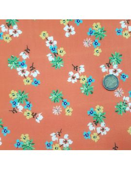 viscose multifleurs orange