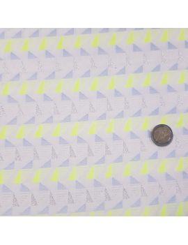 coton géométrique jaune fluo et argent