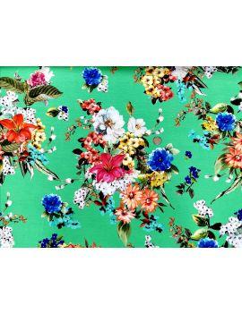 jersey viscose fleurs multico fond vert