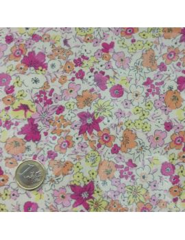 Voile de coton champs de fleurs rose