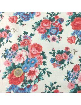 Voile de coton bouquet multifleurs