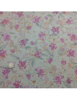 voile de coton kaki fleur violet