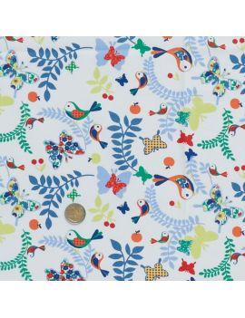 oiseaux et papillons bleu