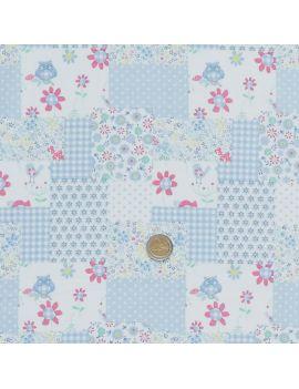 hibou patchwork bleu