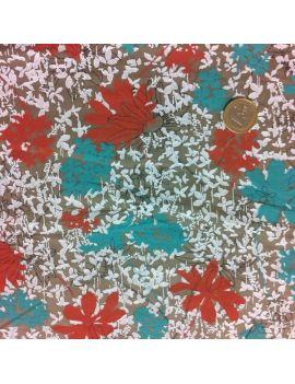 voile de coton fleur vert/brique