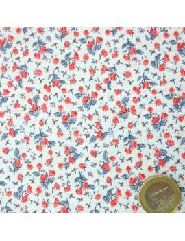 fleur liberty rouge/bleu indigo
