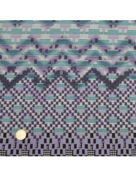 satin coton violet-vert géométrique