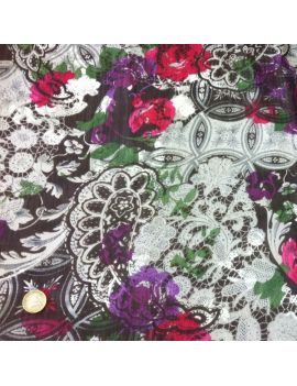 Voile de polyester fleurs dentelles