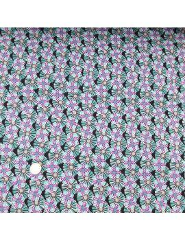 Crepe de polyester fleur turquoise