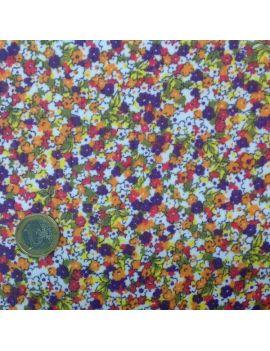 voile polyester fleuri multico
