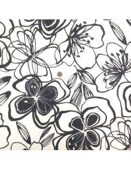 voile polyester grosse fleur noir