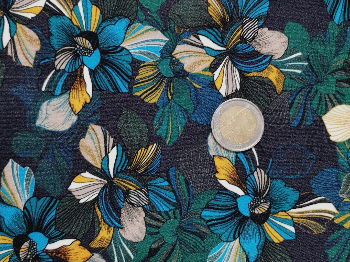viscose fleurs canard turquoise jaune